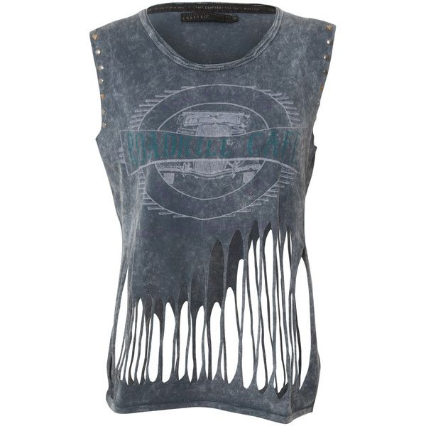 Crafted Slash Roadkill Vest (415 MXN) ❤ liked on Polyvore featuring tops, shirts, tanks and tank tops