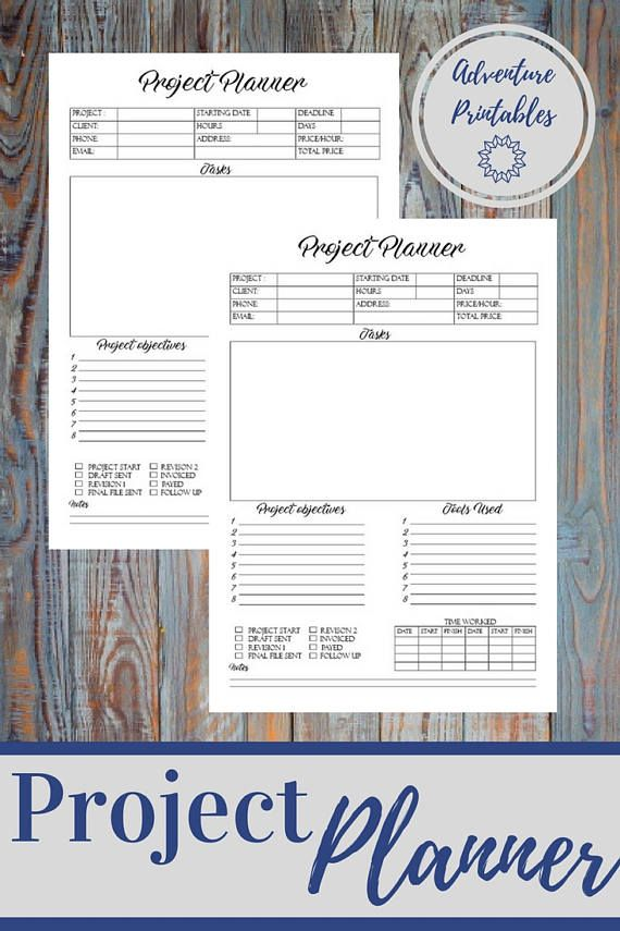 Project Planner Form, Project Manager Printable Form, Work Planner - service forms in pdf