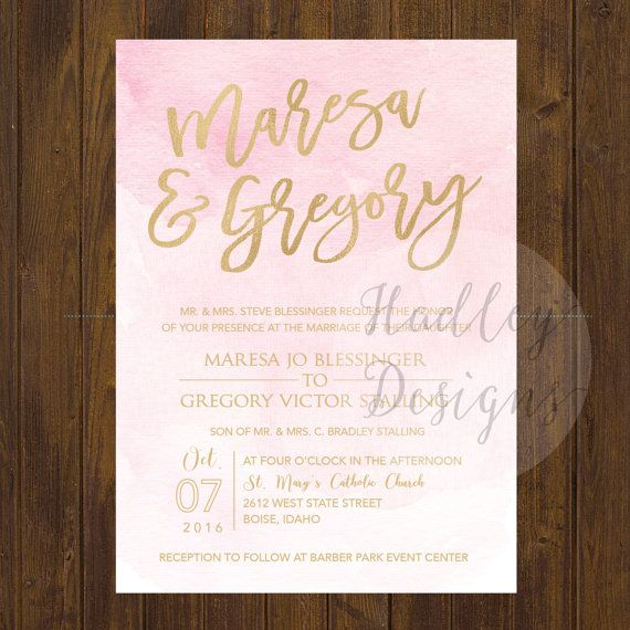 Custom Water Color Wedding Invitation By Hadleycustomdesigns