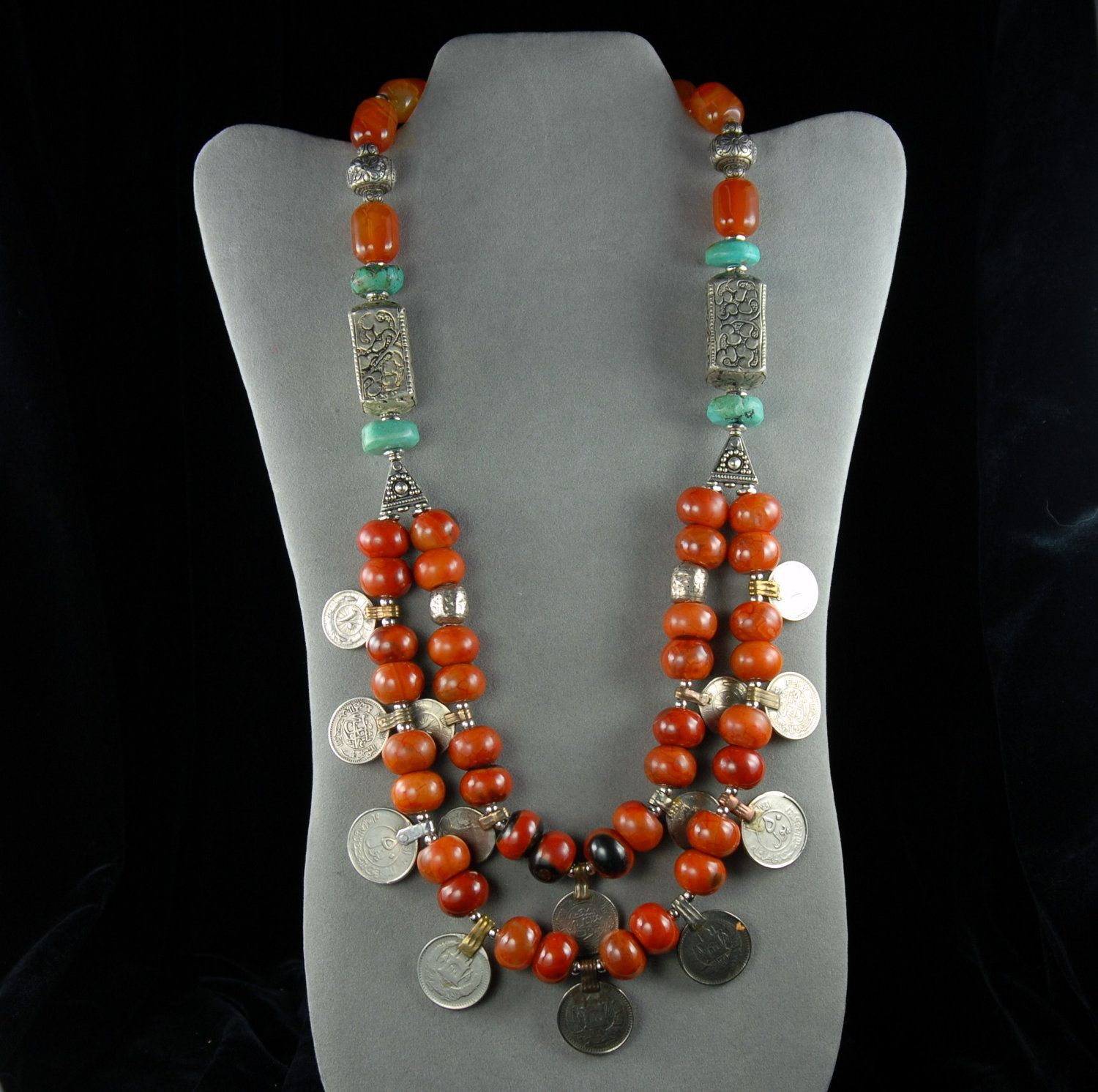 Necklace | Jennifer Garrison.  Authentic Afghan coins, silver, turquoise, and agate