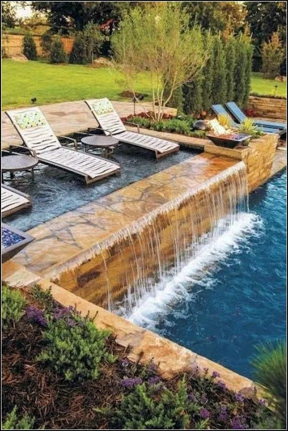 135 Amazing Minimalist Pool Decoration Ideas For Your Backyard Page 24 Backyard Pool Designs Pool Waterfall Cool Swimming Pools