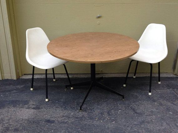 Retro Formica Round Table by ModernRelicsShop on Etsy, $50.00