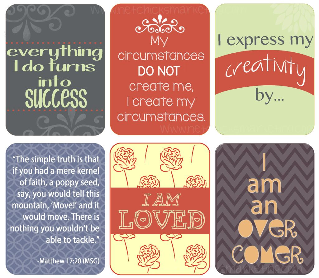 This is a graphic of Enterprising Affirmation Cards Printable