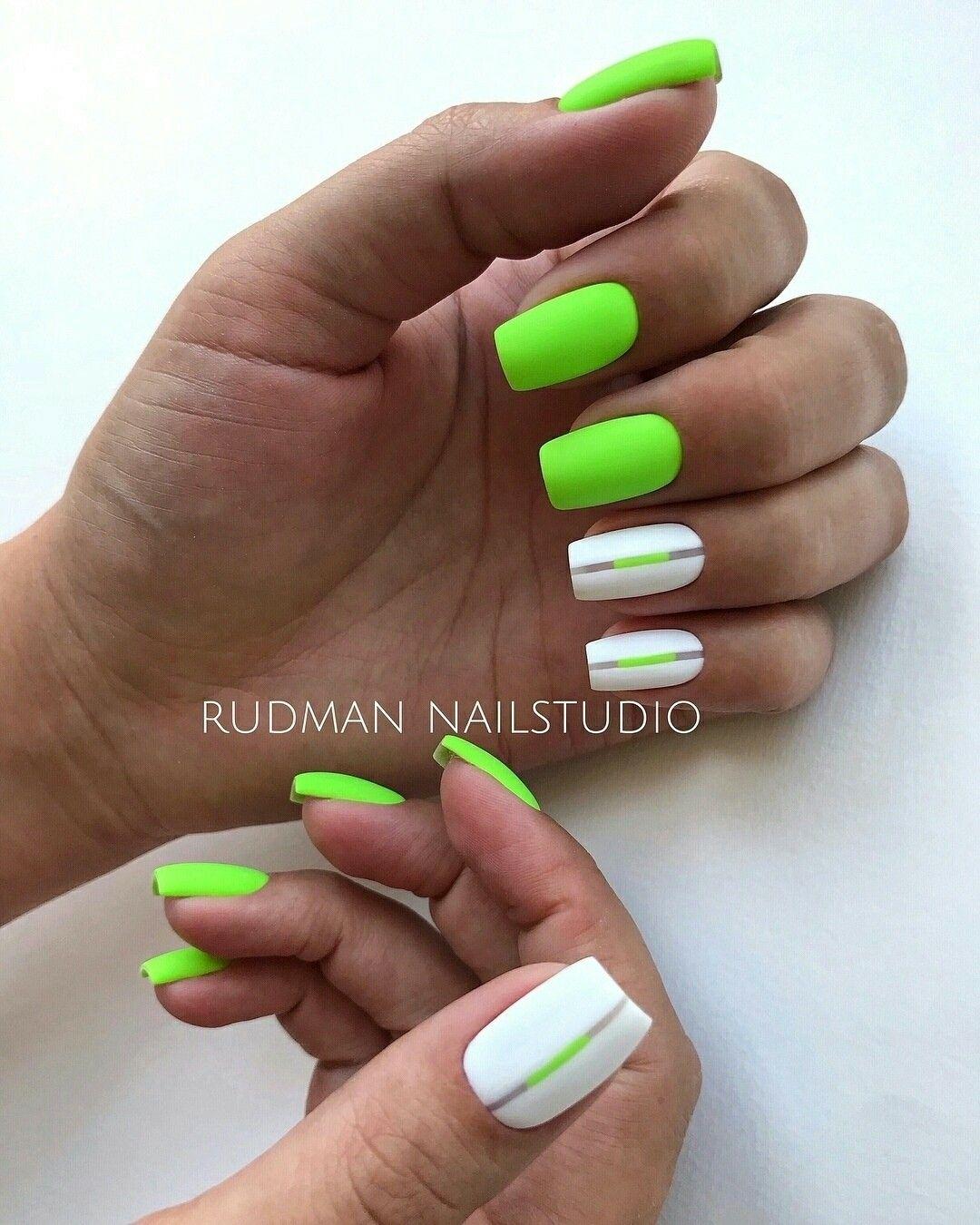 Pin By Amanda Sarisky On Nails Green Nails Neon Nails Manicure