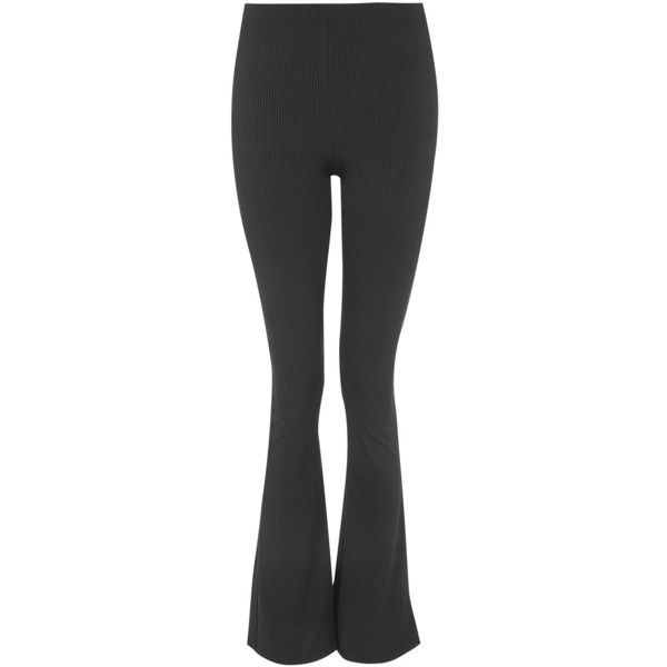 Topshop Petite Skinny Rib Flare Trousers ($26) ❤ liked on Polyvore featuring pants, black, ribbed pants, ribbed flared pants, skinny leg pants, flare leg pants and flared pants