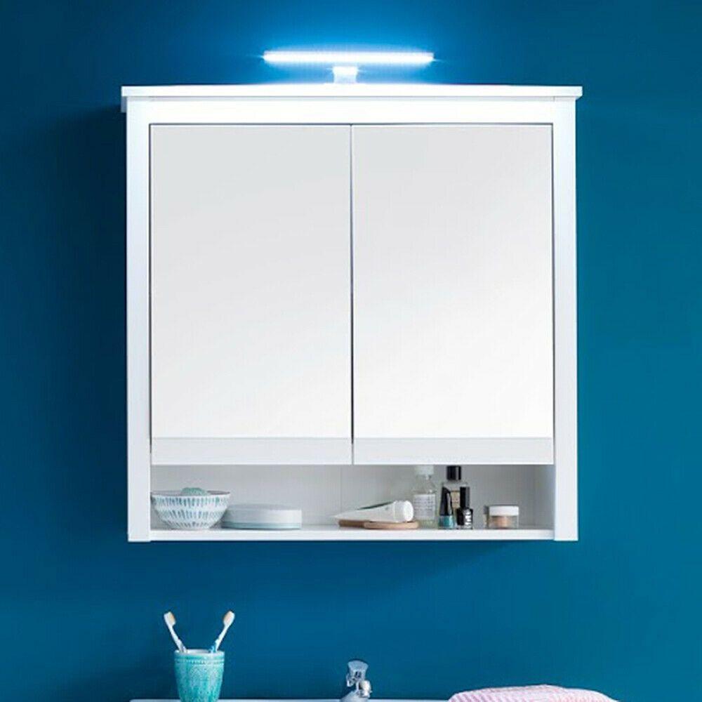 Spiegelschrank Mit Led Beleuchtung Badezimmerspiegel Ole Weiss 81 X 80 Cm In 2020 Badezimmerspiegel Spiegelschrank Led Beleuchtung