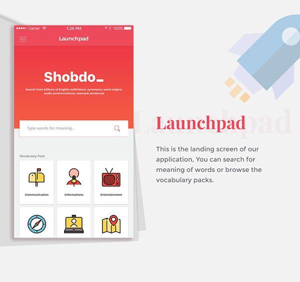 Shobdo iOS Dictionary App on Behance App design, Word