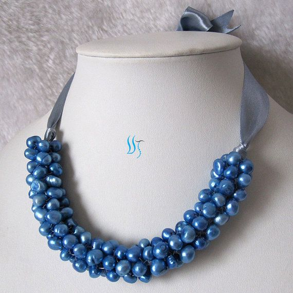 Pearl Bib Necklace  18 inches 7-8mm Blue Freshwater by PearlsStory