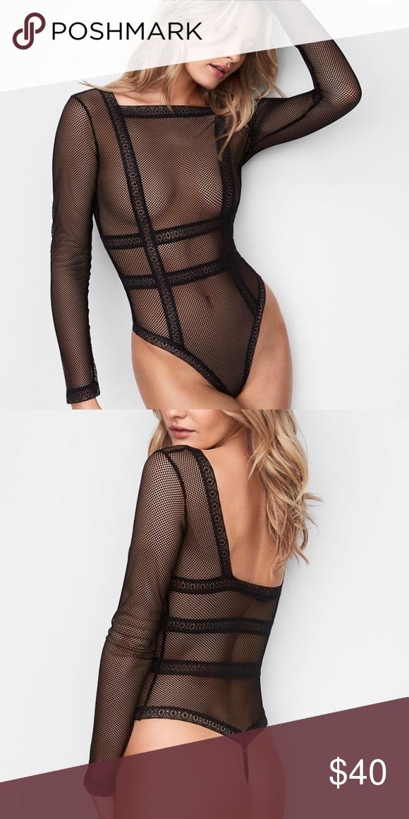 bdb5418d3d9 Victoria s Secret long sleeve fishnet bodysuit Hotter than hot  this long-sleeve  bodysuit in sheer fishnet lace. Sheer