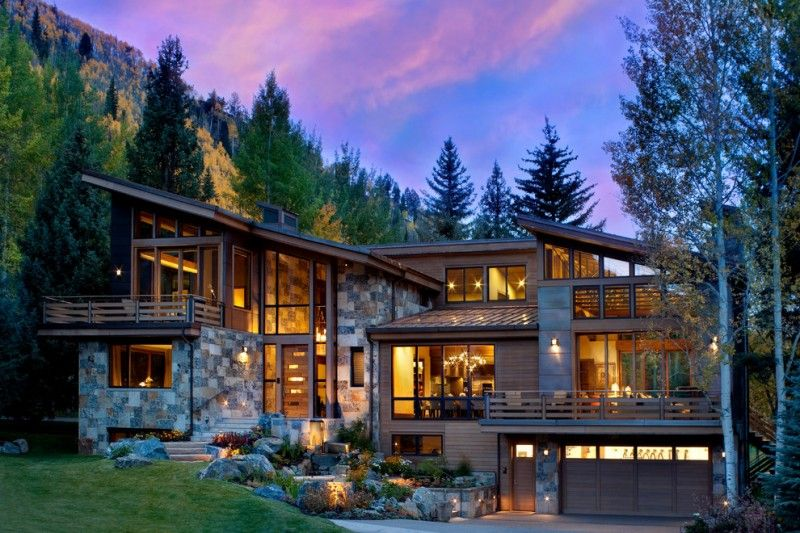 Modern Mountain Homes With Rustic Exterior The Stone Wall Angled Roof Many Big Windows Airy Interior Of House