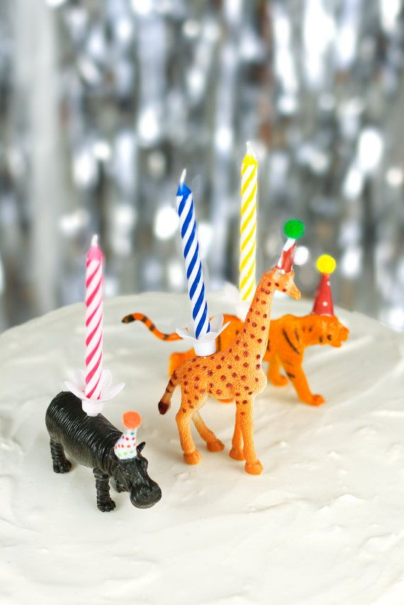 DIY Kit Party Animals Birthday Cake Candle Holders Toppers