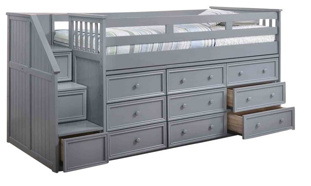 Marlena Grey Full Size Storage Low Loft Bed With Stairs Transitional Loft Beds By Totally Kids Fun Furniture Toys With Images Low Loft Beds