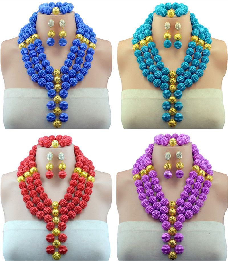 Elegant 10 Colors Nigerian African Wedding Beads Jewelry Set ...