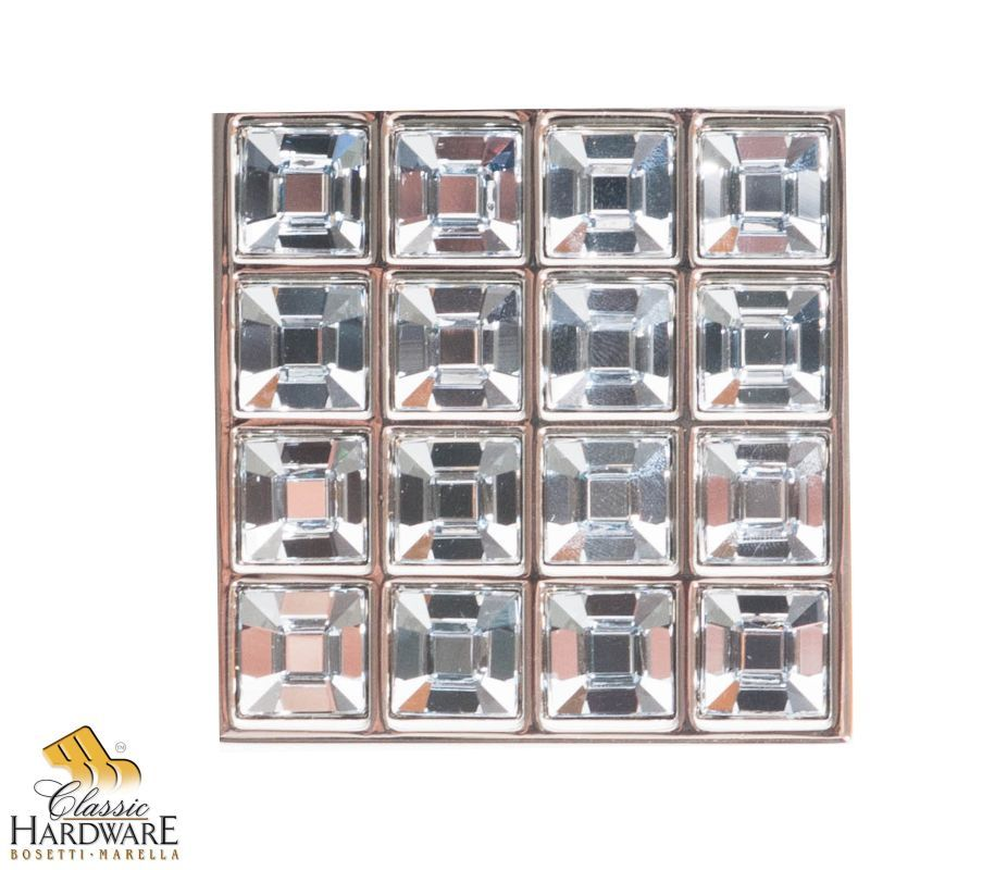 Bosetti Marella 101611 Crystal 1-3/4 Inch Square Cabinet Knob Polished Nickel Cabinet Hardware Knobs Square