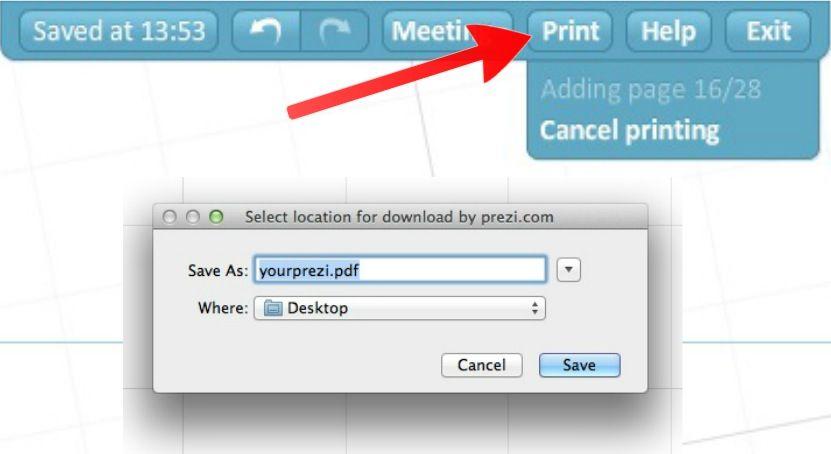 how to print a prezi