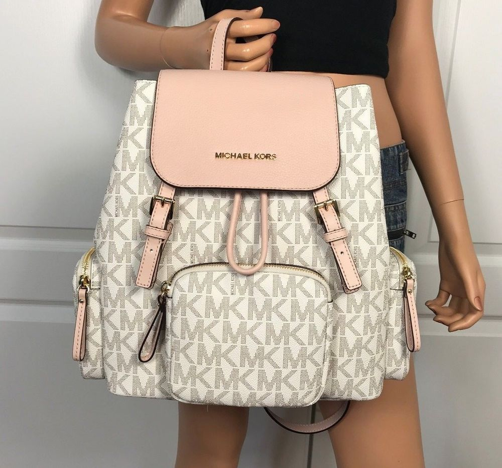 8994faff24ee NWT Michael Kors Large Backpack Book Bag Monogram MK PVC Leather Vanilla  Ballet #MichaelKors #Backpack