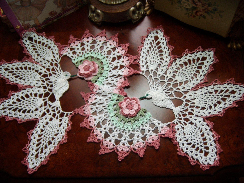 Love birds, valentine, weddins, hand crochet doily sin patron ...