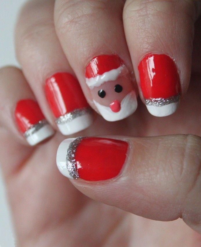 Santa Hat Nails Art Designs Santa Hat Nails Tutorial Holiday Nails Easy Holiday Nails Christmas Nail Designs
