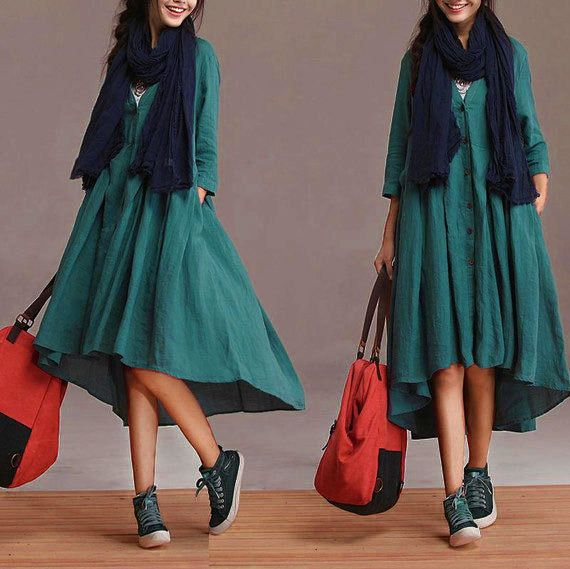 New personalized linen blue cardigan dress / sleeve big swing around Irregular Dress : Jupe par exceptionid
