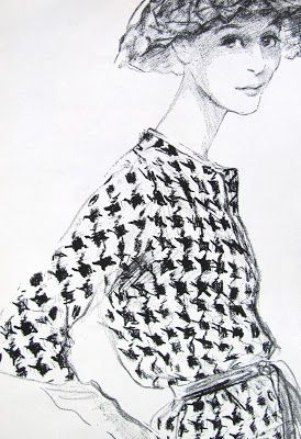 Vintage fashion illustration, Black and White Houndstooth