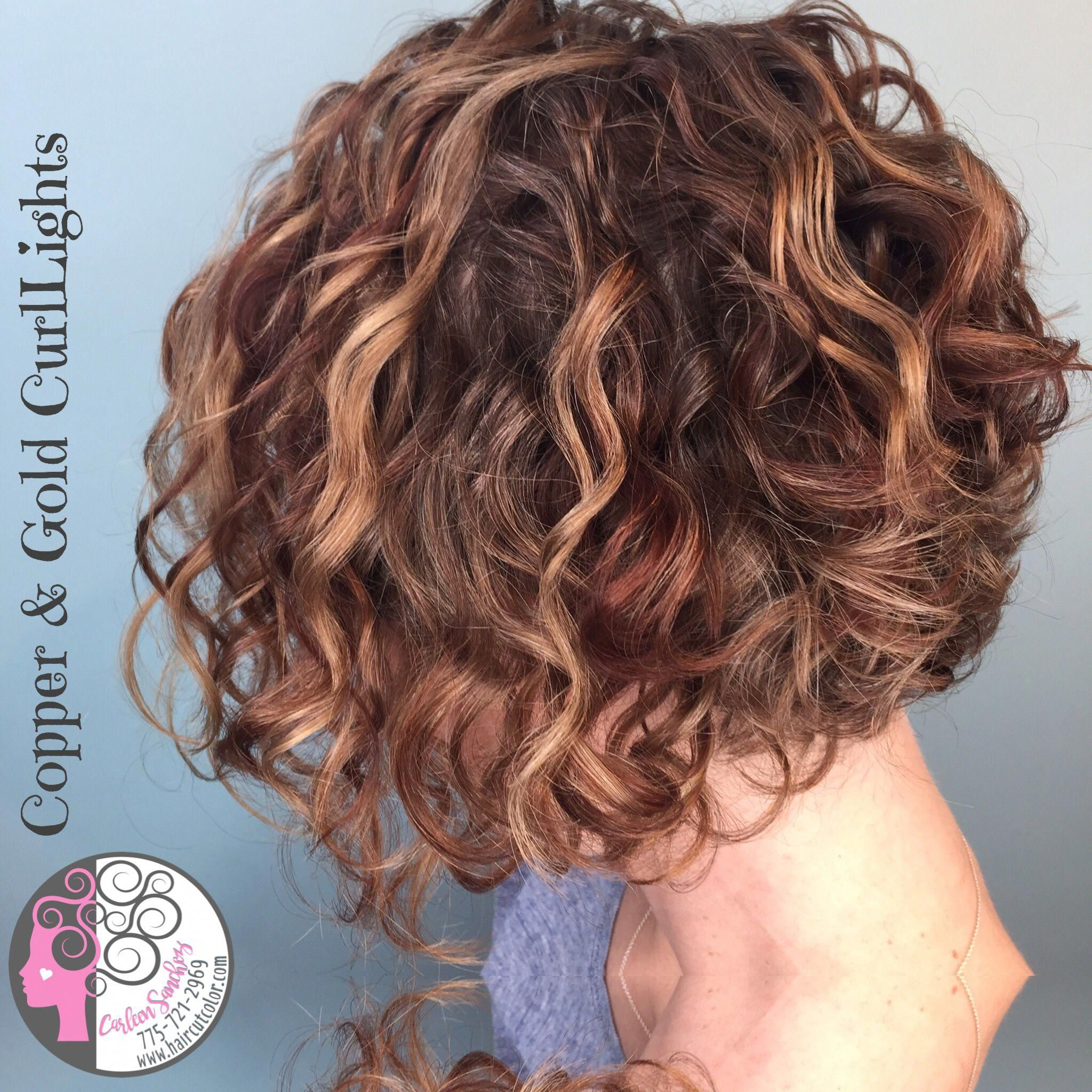 Copper And Gold Curllights Highlights For Curly Hair By Carleen Sanchez Naturally Curly Hair Curly Hair Styles Curly Hair Styles Naturally Colored Curly Hair