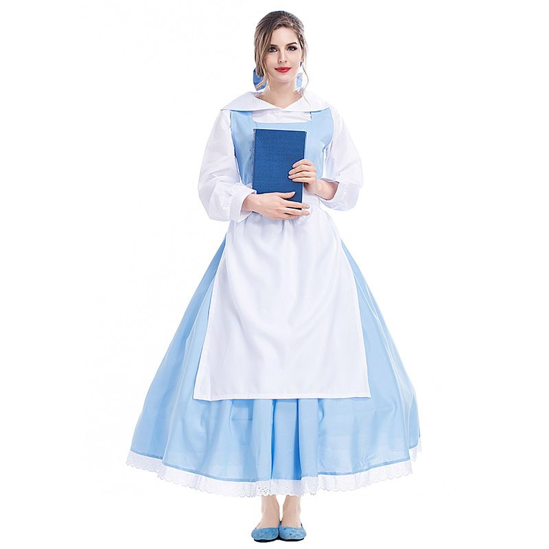 Adult Womens Movie Beauty And The Beast Belle Blue Maid Dress Halloween Cosplay Costume  sc 1 st  Pinterest & Adult Womens Movie Beauty And The Beast Belle Blue Maid Dress ...