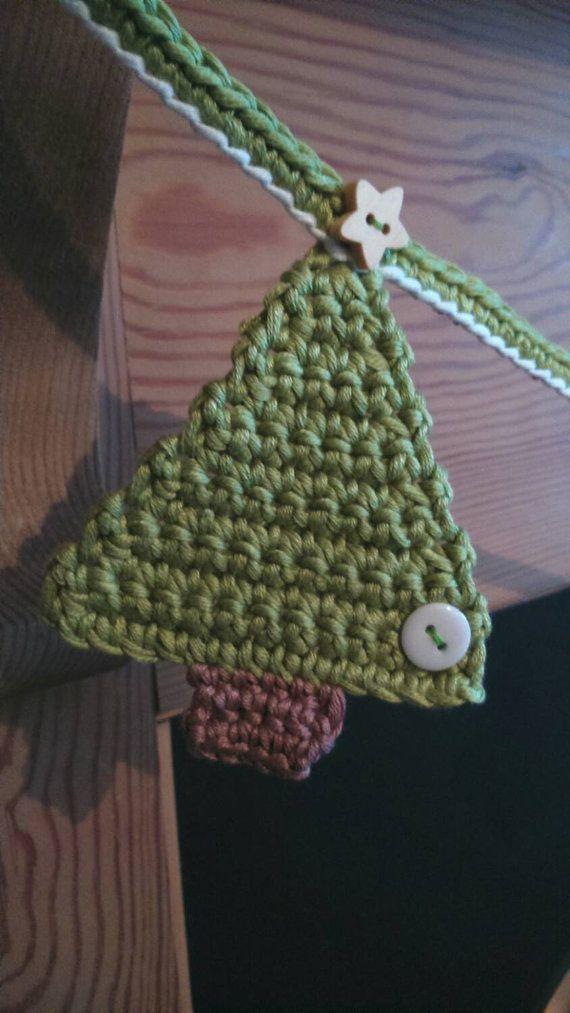 Christmas decorations christmas tree bunting christmas decoration mantle decoration crochet - Decoration au crochet ...