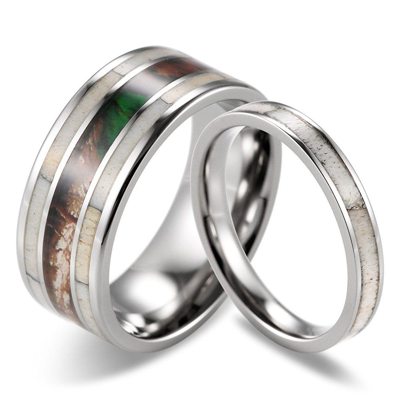 SHARDON Titanium Wedding Ring Set with Camo and Real Deer