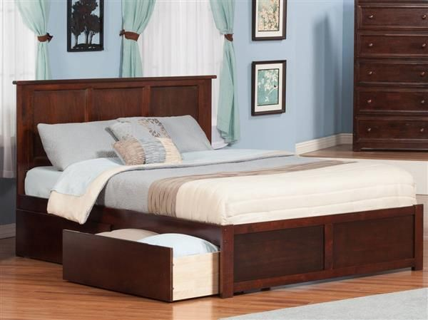 Madison Walnut Wood Queen Bed w/Flat Panel Footboard