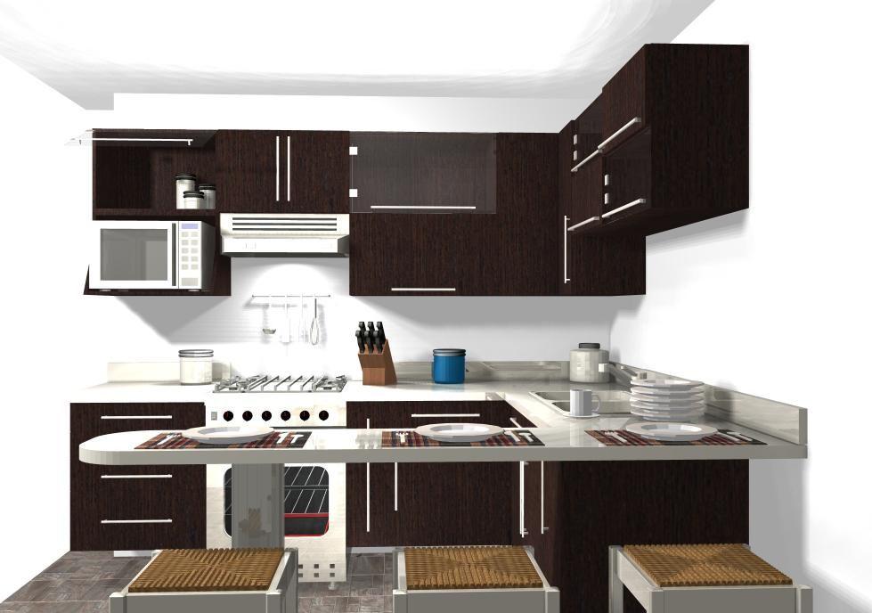 Vista frontal cocina mdf termolaminado en madera color for Frontal cocina ideas