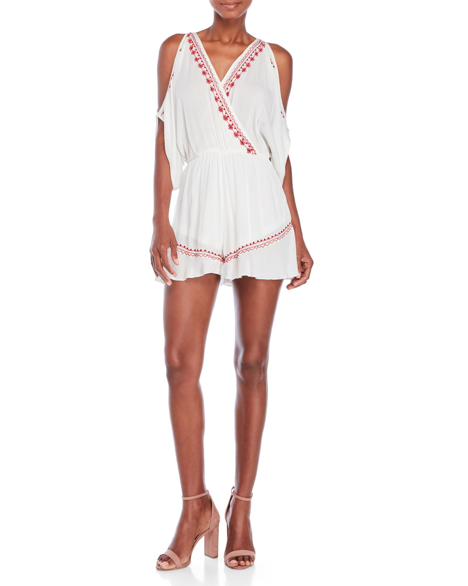 b693559f762b Band Of Gypsies Embroidered Cold-Shoulder Romper