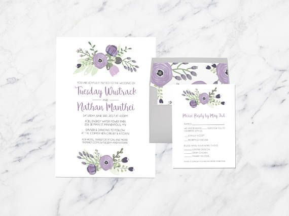 Purple And Gray Wedding Invitations Lavender Fl Invites Vintage Garden Flowers Lilac Simple