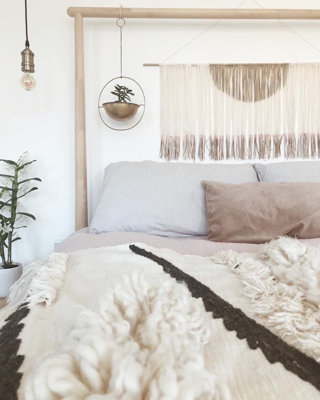 Scandi boho style bedroom with Ikea gjora bed Boho style