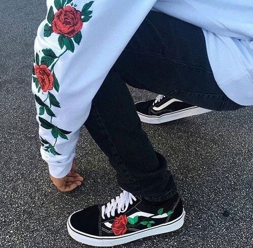 vans, roses, tumblr, cute, black, white