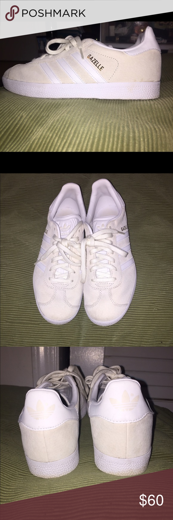 Adidas Women's Gazelle Casual Shoes Comfortable cream and white adidas sneakers. Only worn twice and are in perfect condition! Adidas Shoes Sneakers