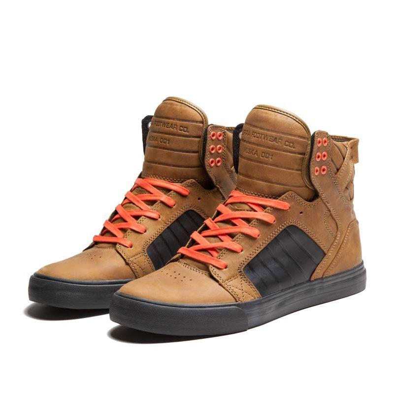 supra skytop shoe kidskin orange black official