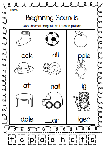 Beginning sounds worksheets for kindergarten and grade students cut  also rh pinterest
