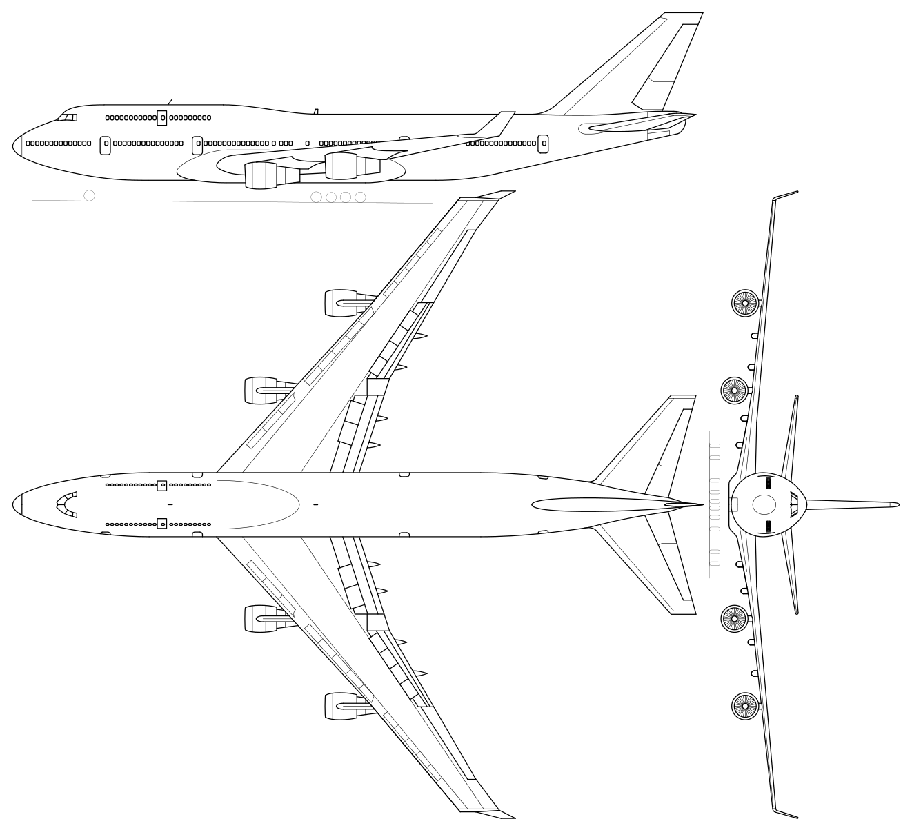 File Boeing 747 400 3view Svg Boeing 747 400 Boeing 747 Aircraft Tattoo