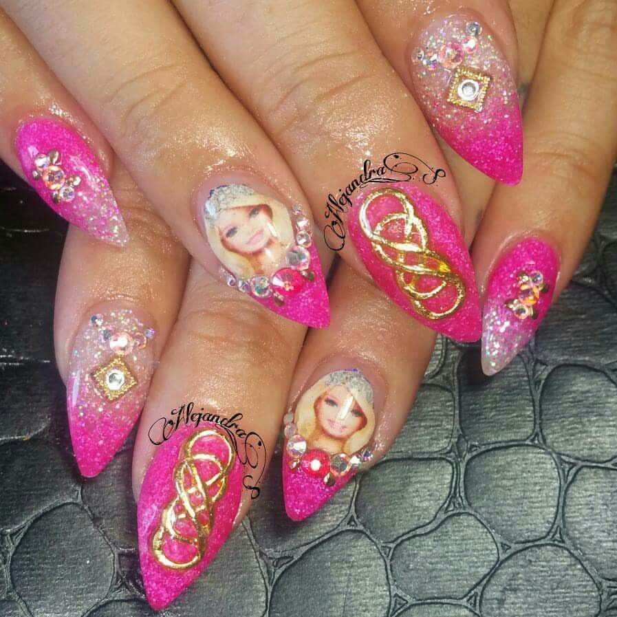 Barbie nails hot pink Nail art, Nails, Hot pink