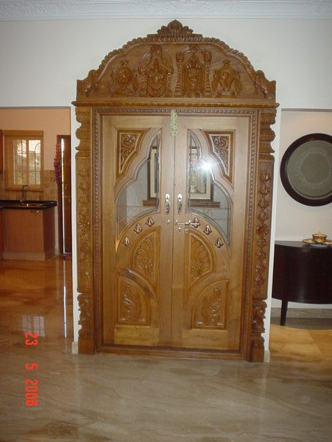 wood door with glass for pooja room - Google Search | Room ...