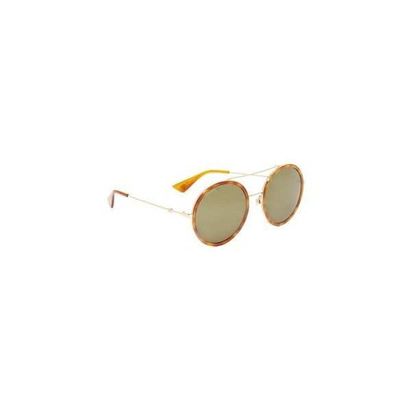 89c93ec7c68 Gucci Urban Web Block Round Aviator Sunglasses ( 400) ❤ liked on Polyvore  featuring accessories