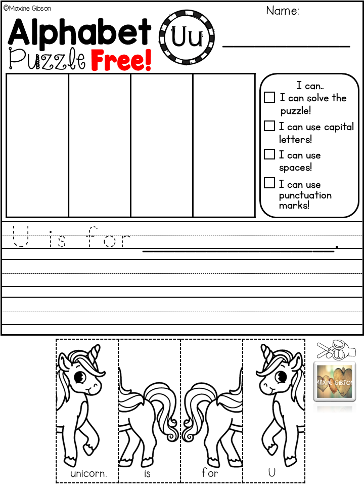 Free Sample Alphabet Puzzle and Handwriting Practice in 2018 | TpT ...