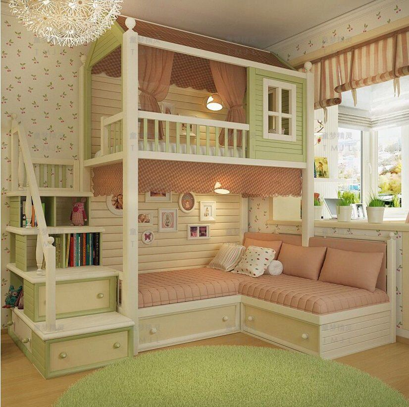 made to order gorgeous cottage bunk bed with stairs #girlsbedroom