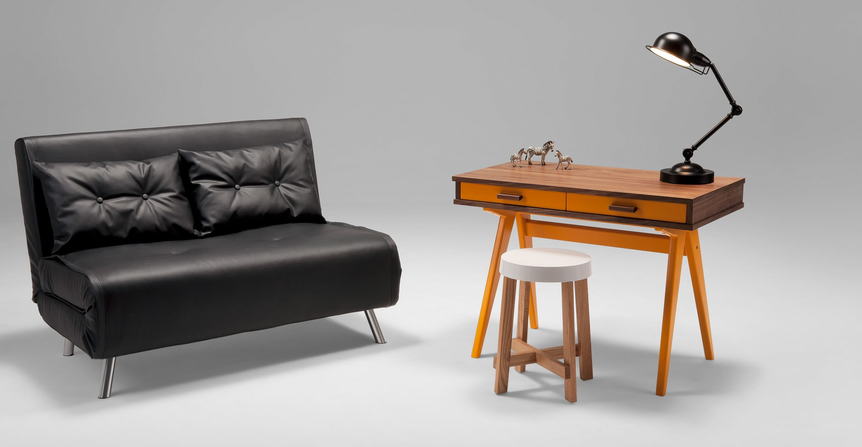 Haru Small Black Sofa Bed Made