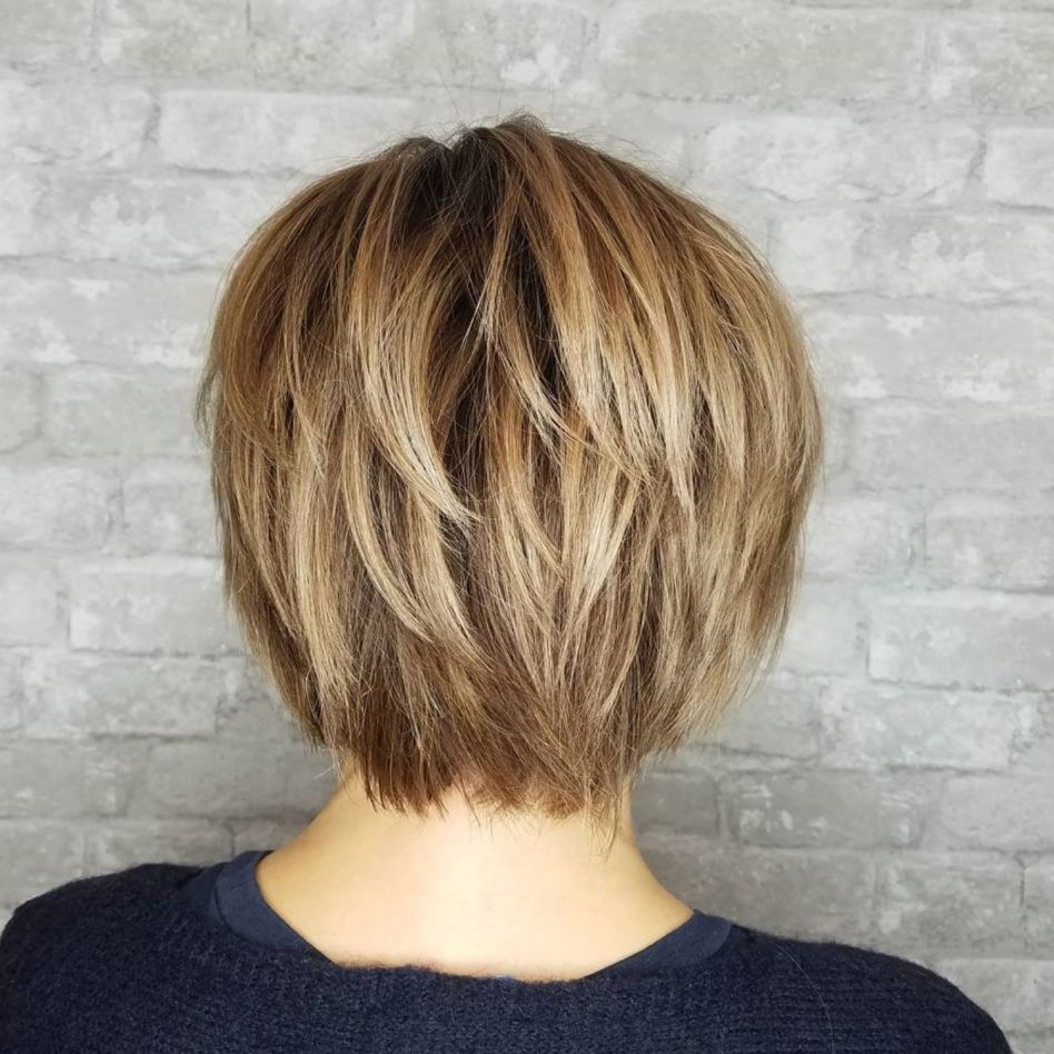 Shorter Layered Brown Blonde Hairstyle Short Shag Hairstyles Short Hair With Layers Thick Hair Styles