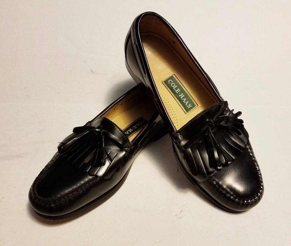 1c76eba44d2 Cole Haan Mens Loafers Black Leather Tassel Green Label Size 9 D  ColeHaan   Tasselloafers