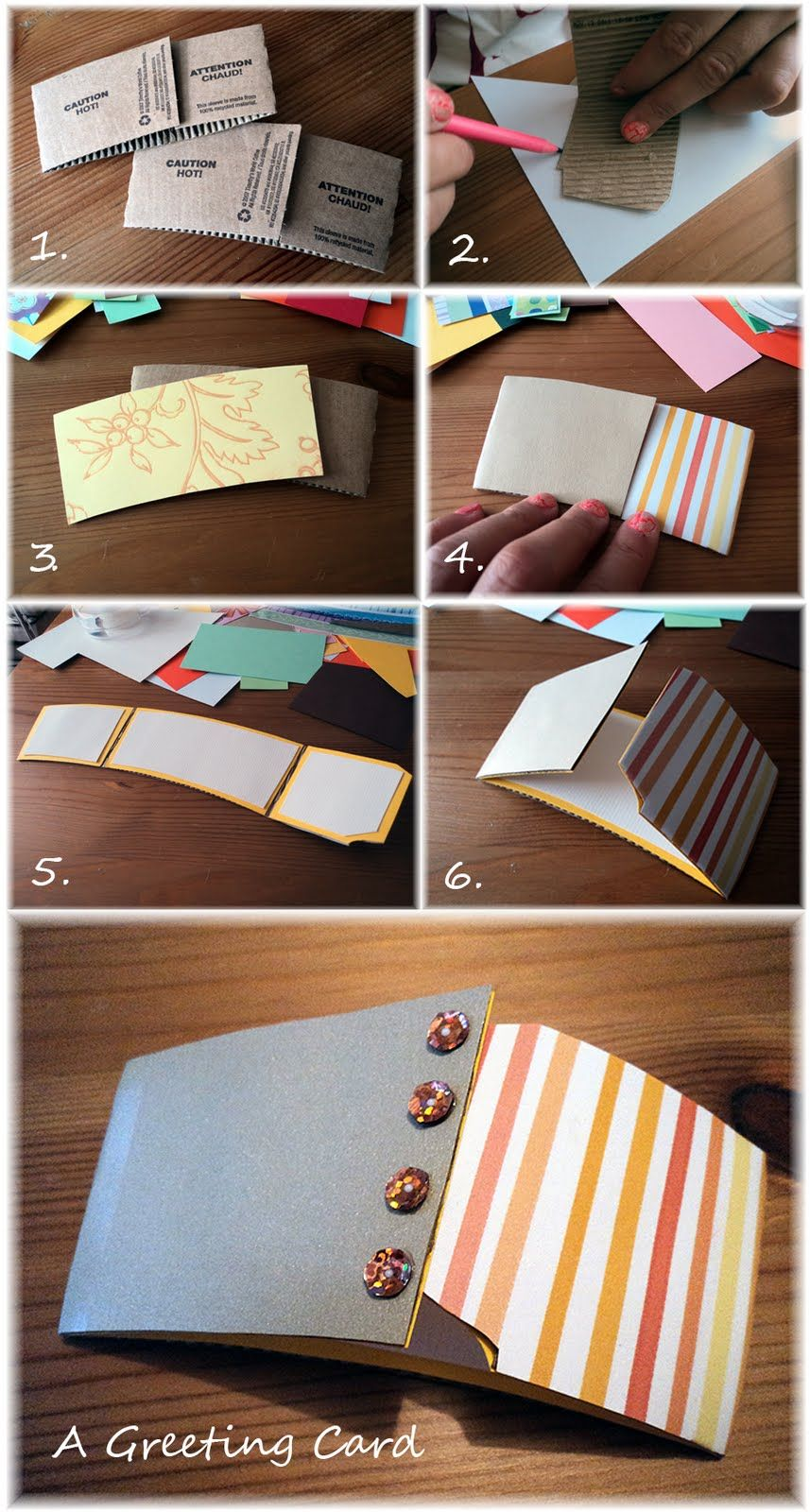 Lovely Green Lifestyle Diy Coffee Sleeve Greeting Cards