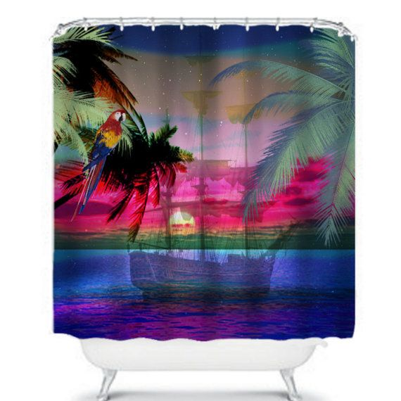 Tropical Twilight Shower Curtain By Folkandfunky On Etsy With Images Curtains Shower Curtain Unique Items Products