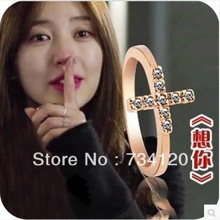 Heiße Verkäufe geben verschiffen Schmuck großhandel 16 MM Für Frauen Fashion CZ Kreuz Ring
