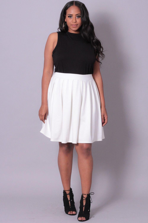 Plus Size Pleated Skirt - Ivory
